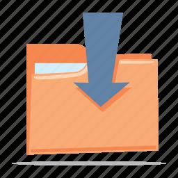 download, folder, save file icon
