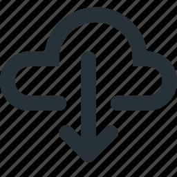 cloud, data, download, internet, sharing, storage icon