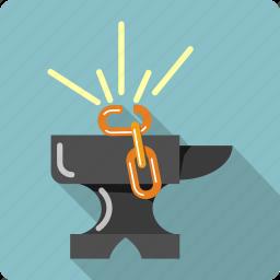 anvil, broken, chain, construction, gear, link, tools icon