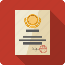 atestate, certificate, contract, diploma, file, seal icon