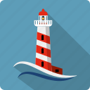 construction, lighthouse, location, marine, navigation, sea, tower icon