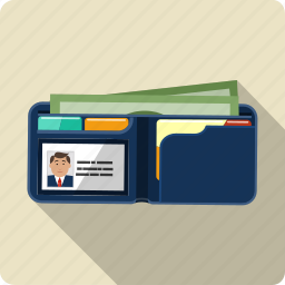 business, cash, credit card, financial, id card, male, wallet icon