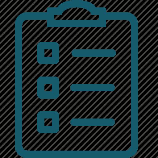 check, checklist, clipboard, document, list, page icon