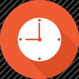 clock, orange, round, time, watch icon