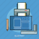 blueprint, pencil, printer, ruler icon