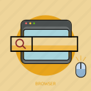 browser, computer, mouse, search, technology icon