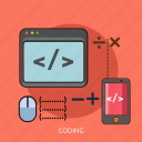 calculator, coding, computer, mouse, phone, technology icon