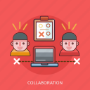 collaboration, computer, face, technology icon