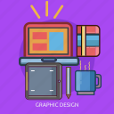 coffee, computer, graphic design, technology icon
