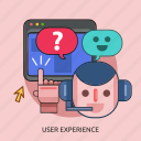 chat, computer, cursor, headphone, user experiece icon