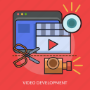 camera, computer, cut, technology, video development icon