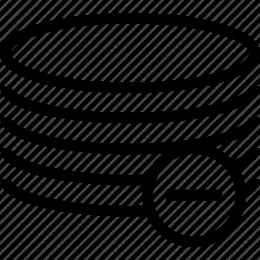 database, delete, minus, server icon