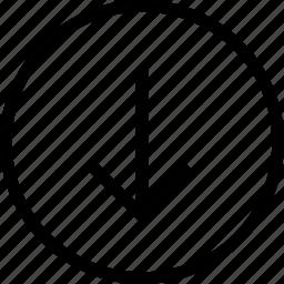 arrow circle down, circle, down, round icon