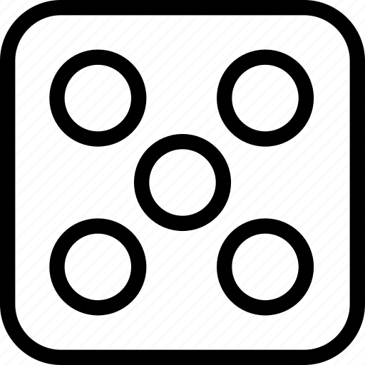 bingo, dice, five, game icon