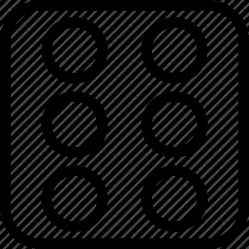 bingo, dice, game, six icon
