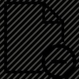 document, file, format, minus icon