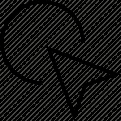 arrow, circle, cursor, left up icon
