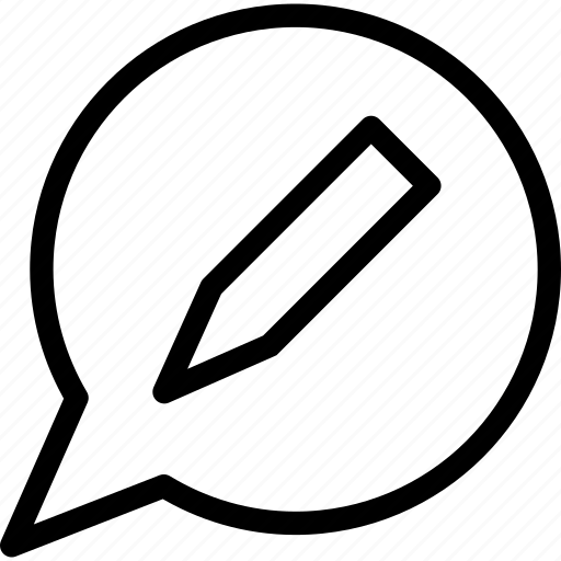 edit, speech balloon, talk, write message icon