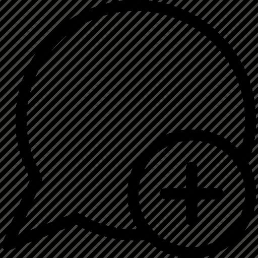 add, conversation, speech balloon, speech bubble icon