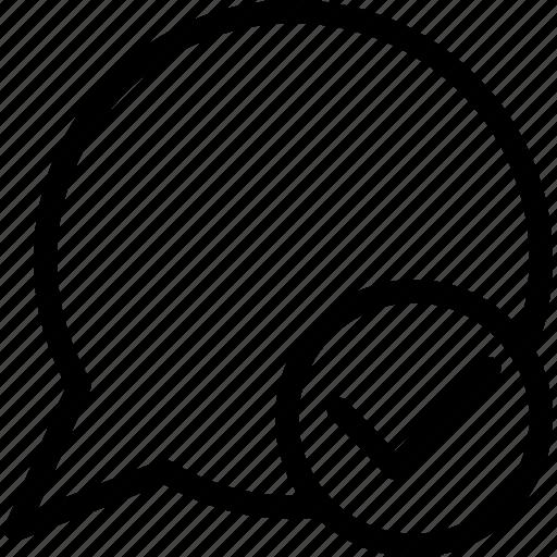 communication, speech balloon, speech bubble, tick icon
