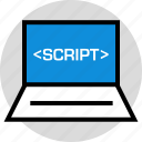 development, laptop, onilne, script, technology, web icon