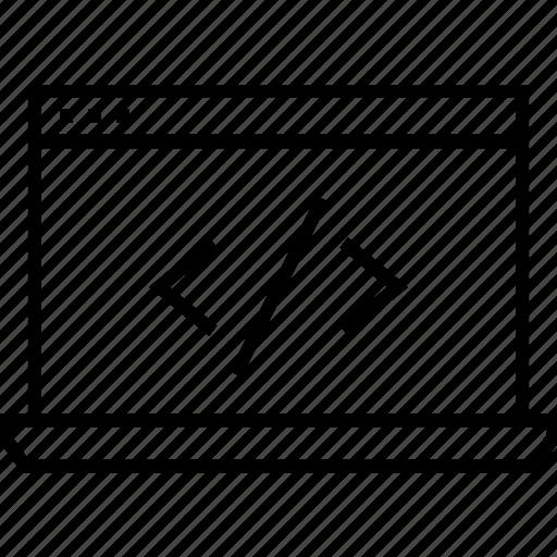 coding, div, html coding, laptop, web development icon