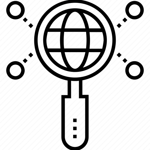 analysis, audit, globe, magnifier, seo icon