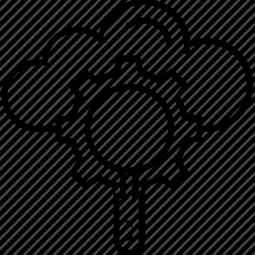 cloud, cloud computing, magnifying, preferences, seo server optimization icon