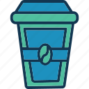 beverage, coffee cup, disposable coffee, hot coffee icon