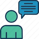 debate, dialogue, man speaking, person speaking icon