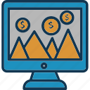 business graph, financial graph, mountain graph, online analytics icon