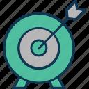bullseye, company objective board, dart board, project target icon