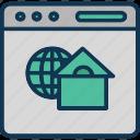 global website, international website, overseas website, remotely working icon