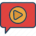 chating, video message, video mms, video text icon