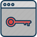 web access, web key, web lock, website authorization icon