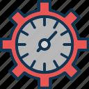 data management, data reporting, data visualization, gear clock icon