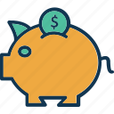 coin savings, investment, money savings, piggy bank icon