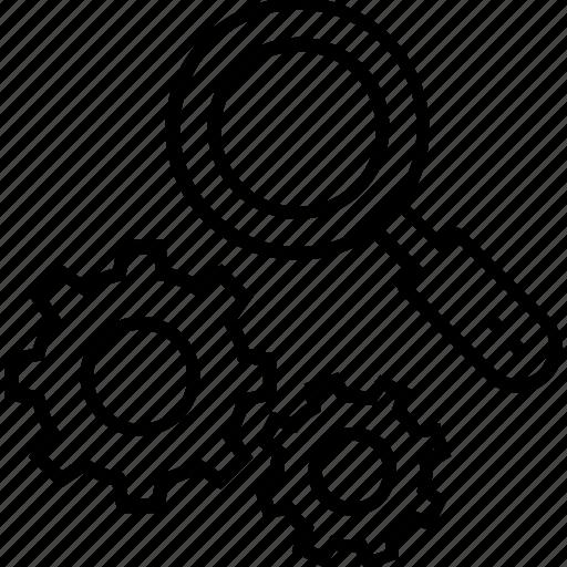 active search, cog, cogwheel, magnifier, search icon