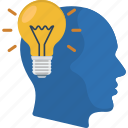 bulb, head, idea, light icon