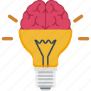 brain, bulb, creativity, idea icon