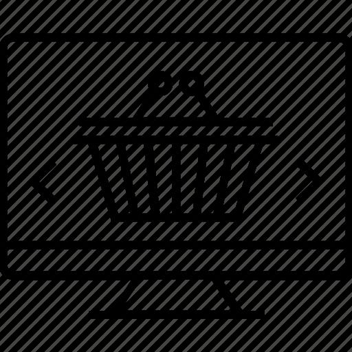 basket, ecommerce, eshop, monitor, online shopping icon
