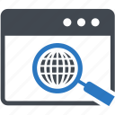 gear, magnifier, magnifying, search, seo, setting, web icon
