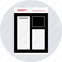 blog, layout, mockup, post, wireframe icon