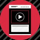 media, mockup, video, webpage, website, wireframe icon