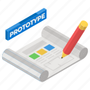 archetype, mapping, mockup, prototype, sketching icon