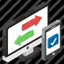 data exchange, data shift, data swipe, data transfer, data transformation icon