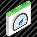 dashboard, gauge, odometer, performance evaluation, speedometer, website speed test icon