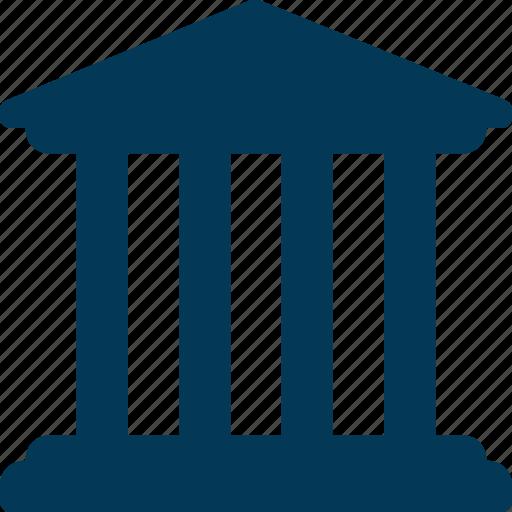 bank, building, building columns, court, real estate icon