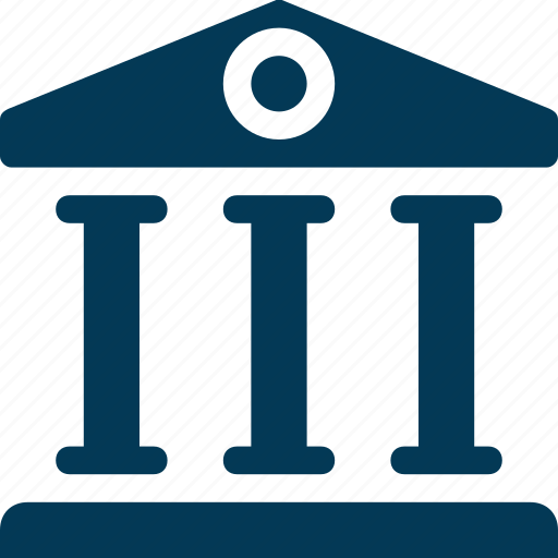 bank, building, building columns, court, real estate icon