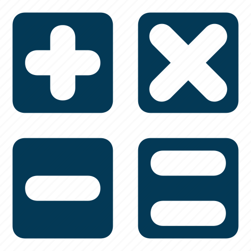 calculator keys, equals to, math symbols, minus, plus icon